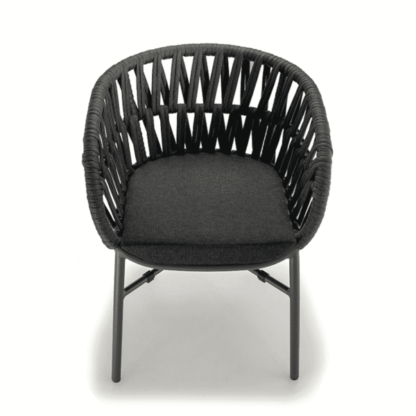Tahiti Armchair DeFrae Contract Furniture for Outside Use Rope Effect Black Above Look