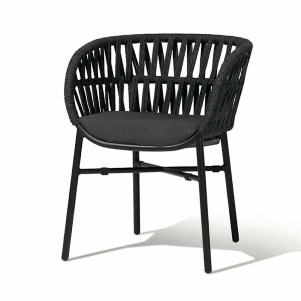 Tahiti Armchair DeFrae Contract Furniture for Outside Use Rope Effect Black Hero