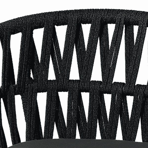 Tahiti Armchair DeFrae Contract Furniture for Outside Use Rope Effect Black close up