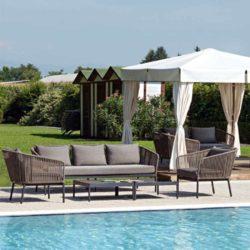 Berg Outdoor Lounge Set String Detail Contemporary Garden Furniture
