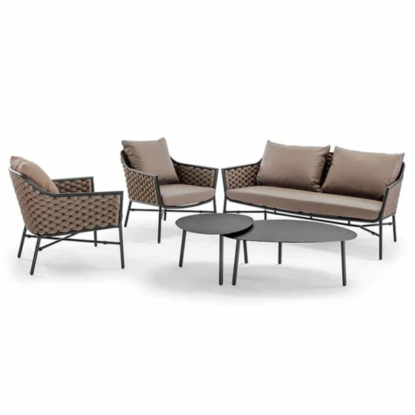 Panama Outdoor Lounge Set Sofa Armchairs and Coffee Table DeFrae Contract Furniture