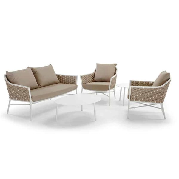 Panama Sofa 2 seater outside from DeFrae Contract Furniture roped back cushioned outdoor 2 seater sofa set white beige