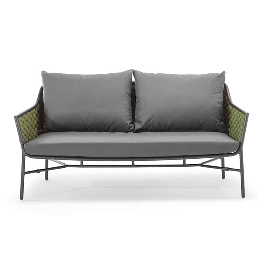 Panama Sofa 2 seater outside from DeFrae Contract Furniture roped back cushioned outdoor 2 seater sofa