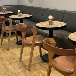 Arco side chairs at Fred & Dougs Epping by DeFrae Contract Furniture
