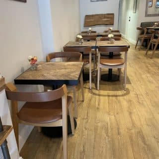 Arco side chairs at Fred & Dougs Epping by DeFrae Contract Furniture portrait