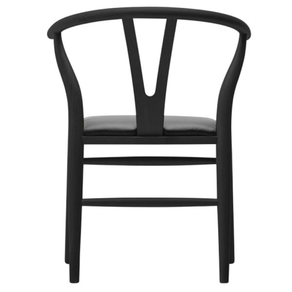 WIsh Chair black Frame with black faux leather seat DeFrae Contract Furniture back view