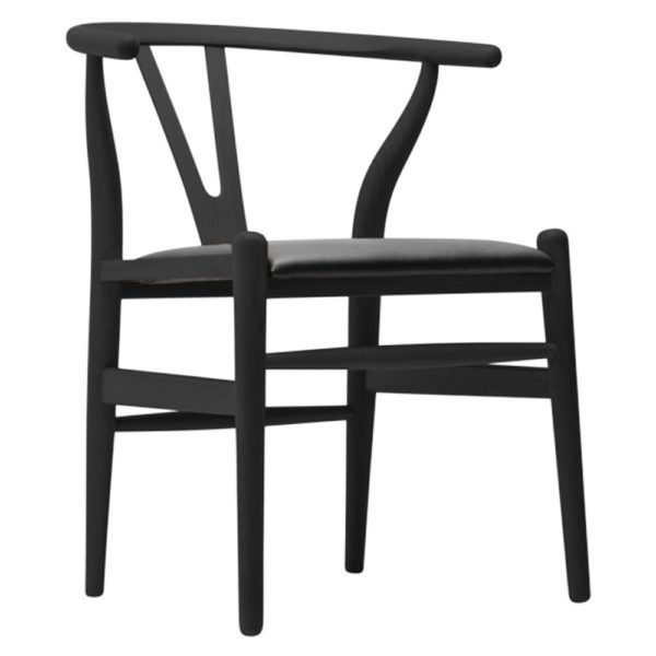 WIsh Chair black Frame with black faux leather seat DeFrae Contract Furniture hero