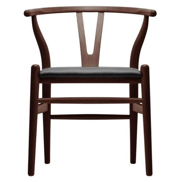 WIsh Chair walnut Frame with black faux leather seat DeFrae Contract Furniture front view