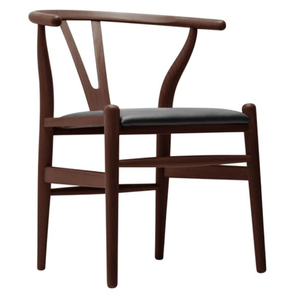 WIsh Chair walnut Frame with black faux leather seat DeFrae Contract Furniture hero