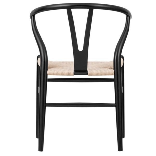 WIshbone Black Frame with natural seat DeFrae Contract Furniture back