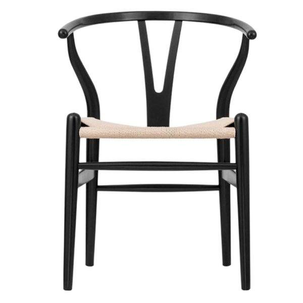 WIshbone Black Frame with natural seat DeFrae Contract Furniture front view