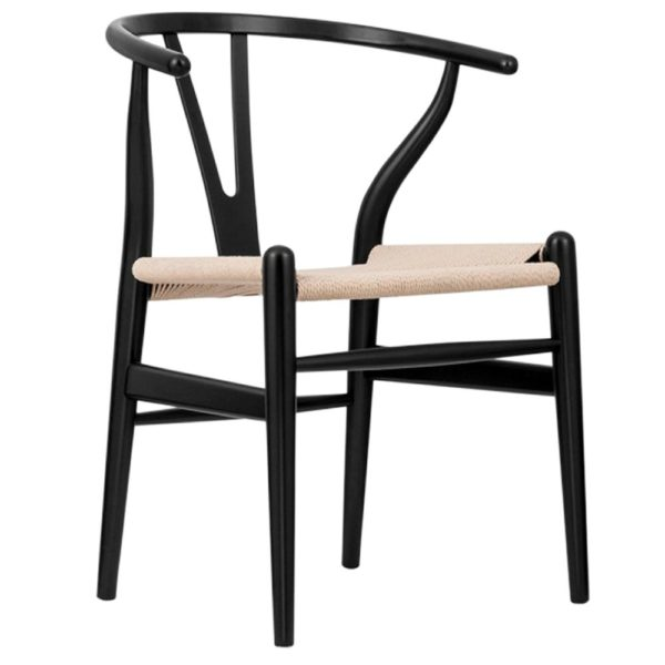 WIshbone Black Frame with natural seat DeFrae Contract Furniture hero