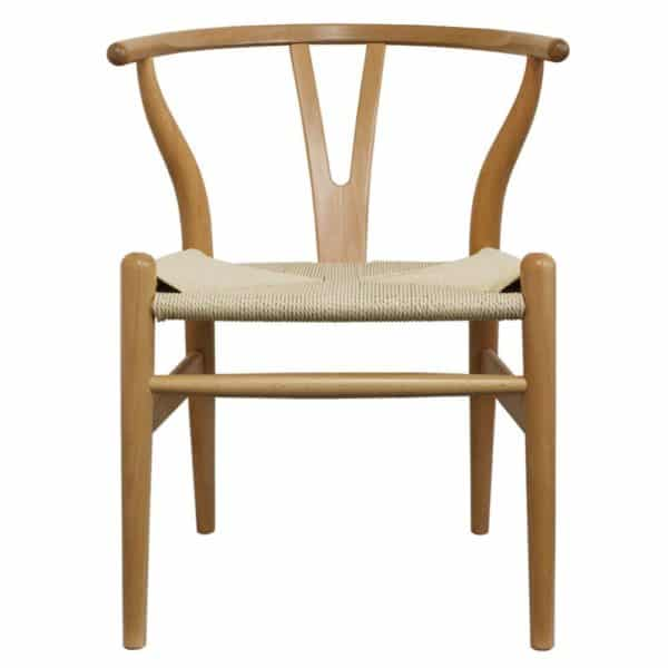 WIshbone natural Frame with natural seat DeFrae Contract Furniture front view