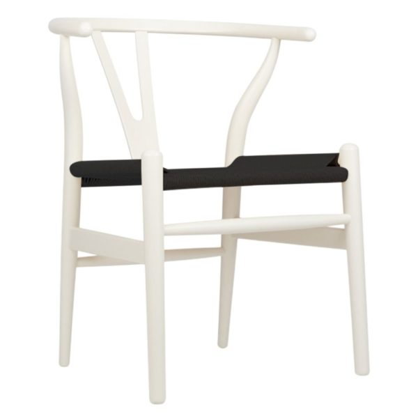 WIshbone white Frame with black seat DeFrae Contract Furniture hero