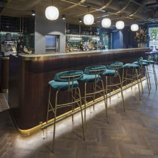 Amy bar stools at Chiswick Cinema by DeFrae Contract Furniture