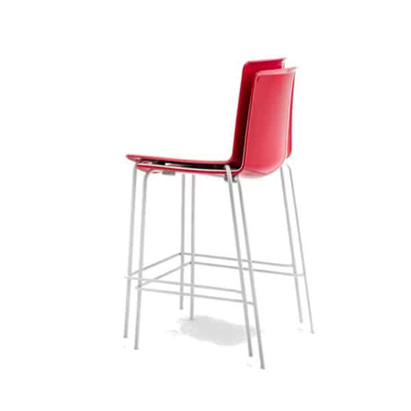 Tweet 892 Bar Stool White Seat and Red Back DeFrae Contract Furniture Stackable